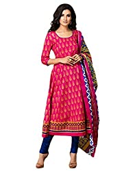 Taos womens printed blend A-line cotton salwar suit latest 2016 summer dress material Unstitched (Taos_1306)