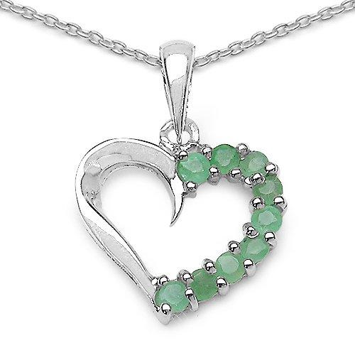 SchmuckMart Smaragd Collier/Kette Herz Anhänger 925 Silber Rhodiniert