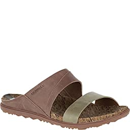 Merrell Women\'s Around Town Slide Sandal, Brown/Green, 7 M US