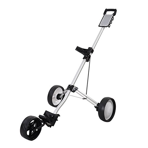 Giantex Foldable 3 Wheel Push Pull Golf Cart Trolley Three Wheels Swivel Folding (Push Pull Golf Cart compare prices)
