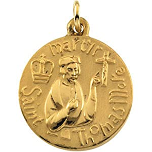14k Yellow Gold St. Thomas More Medal Pendant or Charm