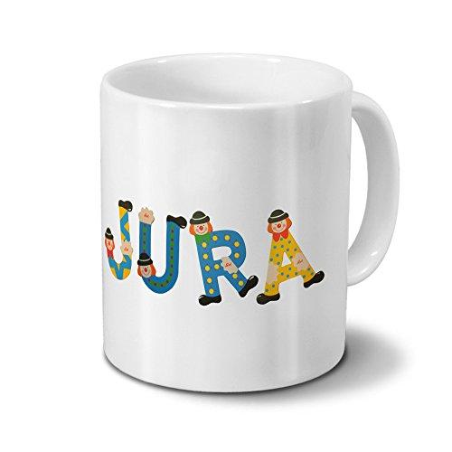 Tasse mit Namen Jura - Motiv Holzbuchstaben - Namenstasse, Kaffeebecher, Mug, Becher, Kaffeetasse - Farbe Weiß