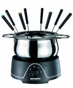 Severin - 2400 - Fondue électrique - 800 W - 1.25l. - caquelon inox - 8 fourchettes - noir / chrome