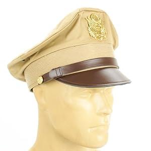 U.S. WWII Officer Visor Crusher Cap: Summer (Khaki) - Size US 7 1/2 (60 cm) from International Military Antiques, Inc.
