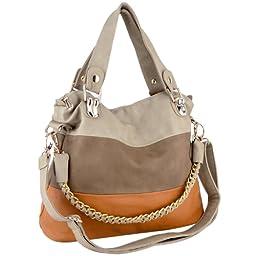 MG Collection Ece Tri-Tone Hobo Handbag, Beige, One Size