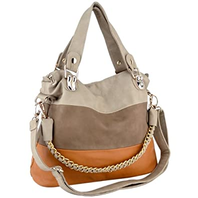 MG Collection ECE Beige Caramel Tri-tone Everyday Soft Leatherette Double Handle Shopper Hobo Handbag w/ Shoulder Chain