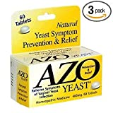 AZO Natural Yeast Symptom Prevention & Relief. , Lactose Free, 60 Tablet  Boxes (Pack of 3)