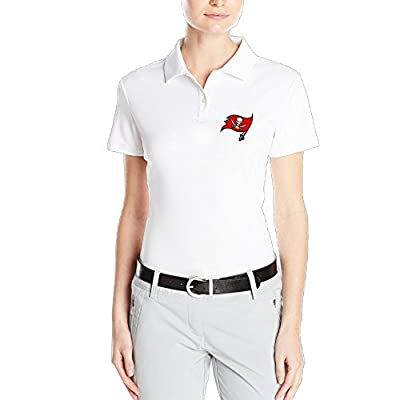VINCEIE Women's Tampa Bay Logo Buccaneers Short Sleeve Polo Shirt White