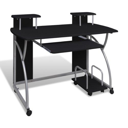 Tavolo scrivania per computer mobile cassetto estraibile finitura nera