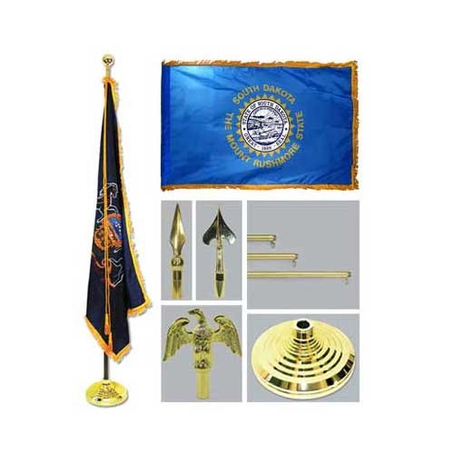 South Dakota 4Ft X 6Ft Flag Telescoping Flagpole Base And Tassel