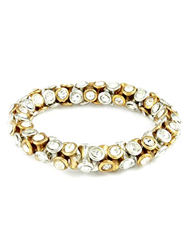 Stretchable Golden-Silver finish Bracelet with CZ Stones (multicolor)