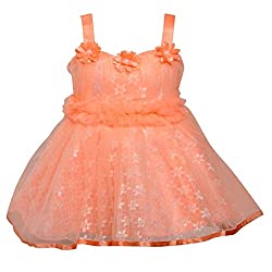ChipChop Peach Empire Waist Party wear Round Neck Dress for Girls