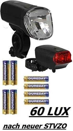 Büchel Batterieleuchtenset 60Lux LED TrioLux Pro plus Rücklicht  – STVZO zugelassen für Alle Fahrräder, Schwarz, 51125480