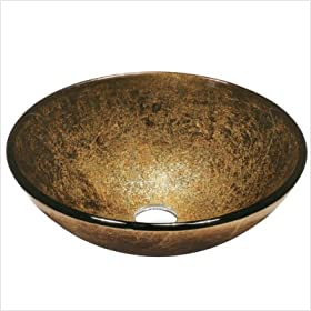 Bronze and Gold Tempered Glass Vessel Sink
