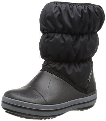 crocs Winter Puff Boot Kids, Unisex-Kinder Warm gefütterte Schneestiefel, Schwarz (Black/Charcoal 070), 22/23 EU