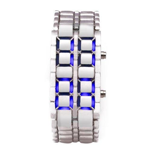 Silver Metal Band Iron Lava Samurai Style Wrist Watch Faceless Japanese Inspired Blue Led