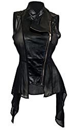 eVogues Plus Size Sleeveless Sheer and Faux Leather Panel Jacket Black - 3X