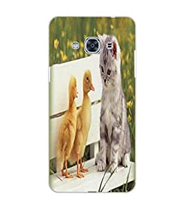 SAMSUNG GALAXY J3 PRO CAT AND BIRDS Back Cover by PRINTSWAG