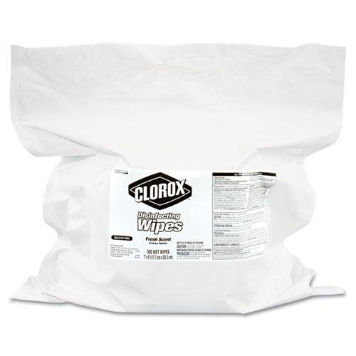 CLOROX 30220CT Disinfecting Wipes Refill, 8 x 8, Fresh Scent, 500 Sheets kitaapbr102gycox01761ea value kit best hospitality base cabinet aapbr102gy and clorox disinfecting wipes cox01761ea