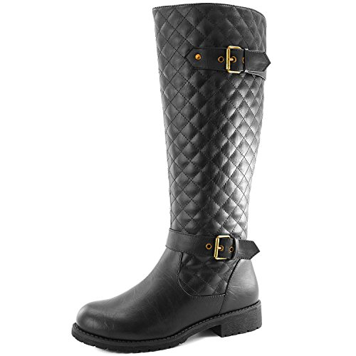 Women's DailyShoes Quilted Round toe Knee High Combat Rider Boot Mid Calf with Side Pocket, 8