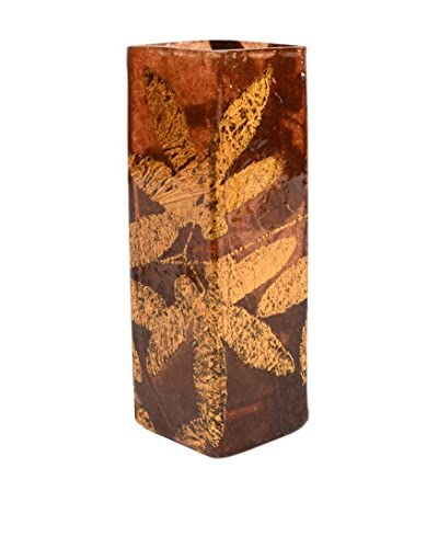Uptown Down One-of-a-Kind Hand-Painted with Metallic Leaf Detail Glass Accent, Copper Anise Amber