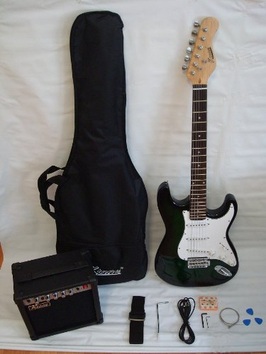 Ktone Black Electric Guitar Set With Strap Cord Gig Bag And 15w Amp