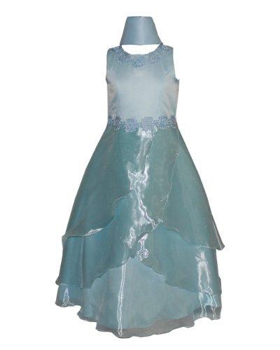 Fine Brand Shop Girls Color Sheer Cove Satin Long Dress and Scarf Flower Waist Neck Trim