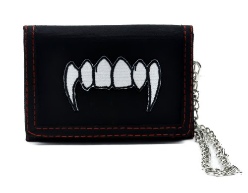 Vampire Fangs Trifold Black Wallet with Chain