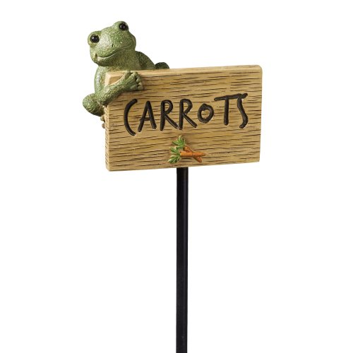 Grasslands Road Frog Figurine Carrots Garden Marker, 27-Inch, Set Of 3 front-960352