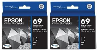 Genuine Epson 69 (T069120) DURABrite Ultra Black Ink Cartridge 2-Pack