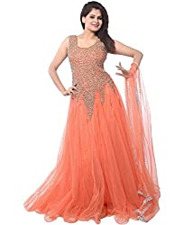 Z Fashion Women's Orange Color Soft Net Embroidered Semi-stitched Round Neck Sleeveless Free Size Anarkali Gown with Matching Net Dupatta