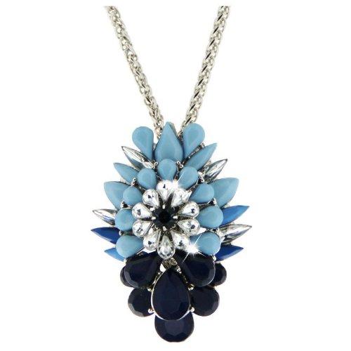Sweet Deluxe Damen Halskette Metall rhodiniert Glas 45 cm silber/blau/hellblau 3066