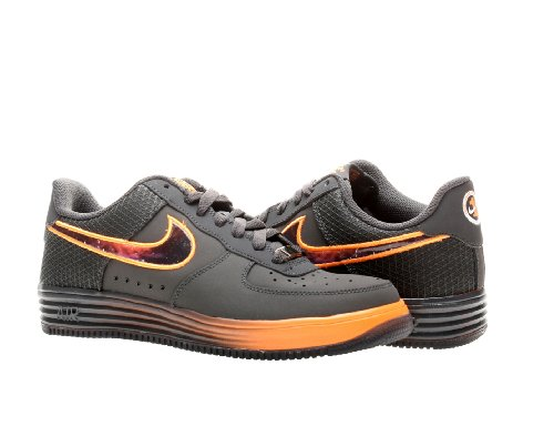 detailed look 9f62e 18834 Nike Lunar Air Force 1 Leather GS Boys Basketball Shoes 580538 001  Anthracite 7 M US