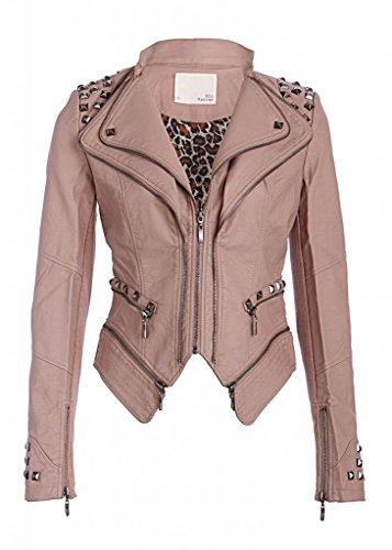 Rocking Cool Dusty Pink Studded Punk Style PU Faux Leather Slim Fit Moto Jacket