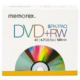 DVD+RW Discs, 4.7GB, 5/Pack