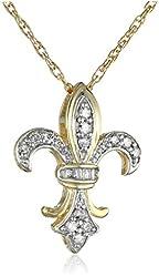 10k Gold Plated Sterling Silver Diamond Fleur-de-Lis Pendant Necklace (1/4 cttw, J Color, I3 Clarity)