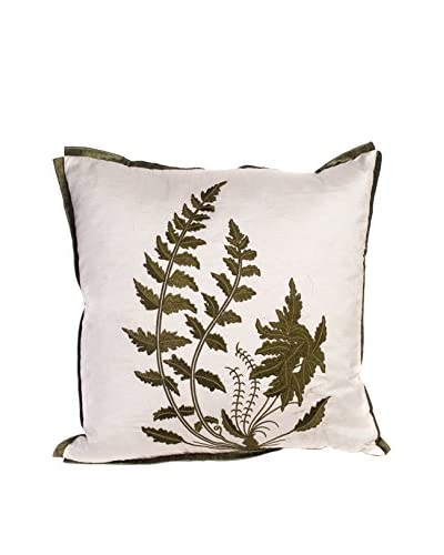 Cloud 9 Embroidered Fern Throw Pillow, Ivory