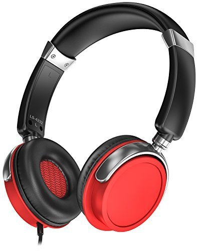 Sentey LS-4232 Phaint Red Headphones with Microphone (Carrying Case Included)