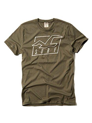 (ホリスター) Hollister Co. メンズ クルーネック 半袖 Tシャツ [オリーブ/Seagull刺繍] 並行輸入品 Lサイズ