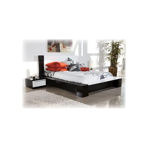Black And White Queen Platform Bed By Ashley Furniture