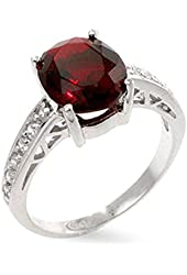 Valerie's Oval Cut Ruby CZ Solitaire Ring