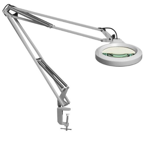 "Luxo 18352Lg Lfm Led Illuminated Magnifier, 30"" Arm, 5 Diopter, Edge Clamp, Light Gray"