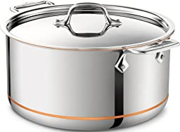 All-Clad 6508 SS Copper Core 5-Ply Bonded Dishwasher SafeStockpot / Cookware, 8-Quart, Silver
