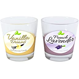 Aromatherapy Candle Gift Set - French Lavender and Vanilla Scented Candle 2-pack with Natural Wax Blend - Great for Relaxation - Non-toxic & USA Made By Honeydew Products