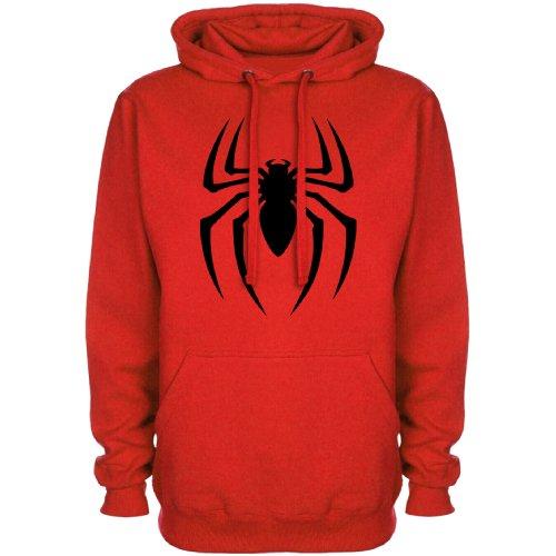 Mens Superhero Inspired Hoodie - Spider Symbol - Red - XX-Large
