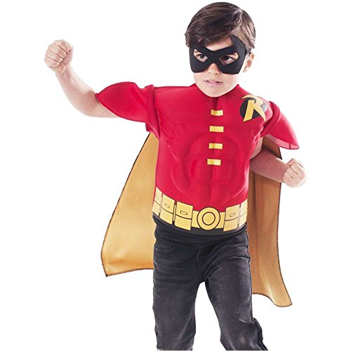 Classic Batman: Robin Muscle Shirt Kids Costume Kit - Small