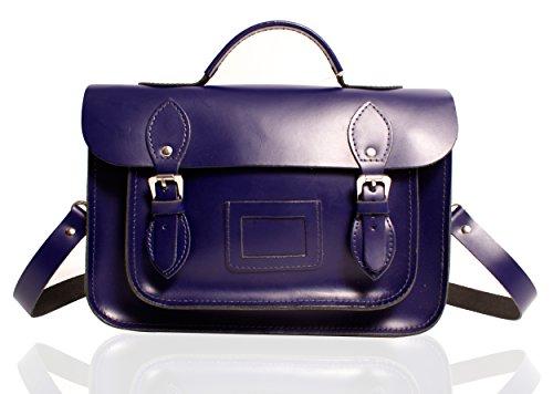 """13"""" Royal Blue Deep Purple English Leather Briefcase Satchel - Classic Retro Fashion laptop / school bag - satchels"""
