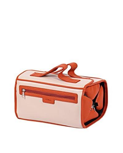 Morelle & Co. Two-Tone Roll-N-Go Jewelry, Cosmetics & Toiletries Case, Beige/Dark Tangerine As You S...