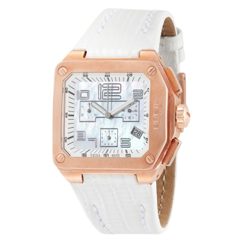 Breil Ladies Logo Swiss-made Chronograph Watch BW0399 with 41mm Rosegold IP Color Case, MOP Dial, and White Leather Strap
