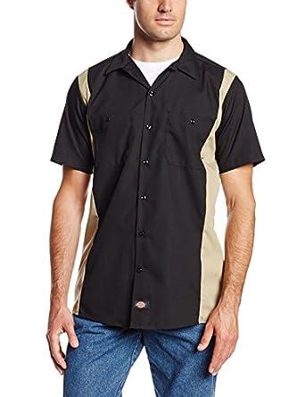 Dickies Occupational Workwear LS524BKDS Polyester/ Cotton Men's Short Sleeve Industrial Color Block Shirt, Black/ Desert Sand